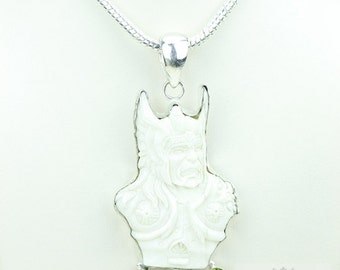 Viking Mythology Norse God THOR TOTEM Goddess Face Moon Face Bone Carving 925 S0LID Sterling Silver Pendant + 4MM Chain p3912