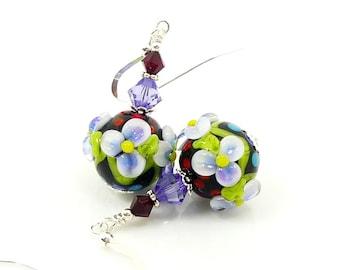 Floral Earrings, Lampwork Earrings, Polka Dot Earrings, Glass Bead Earrings, Flower Earrings, Glass Earrings, Glass Bead Jewelry