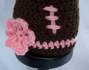 Football Hat with Pink Flower - Premie/Newborn