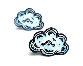 Cloud Earrings  - Stud Earrings - White, Black and Blue - Cloud Jewelry - Post Earrings