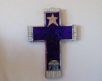 Nativity Cross in stained glass mosaic
