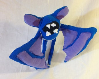 Zubat – 8.5 inches – Made from recycled clothing.