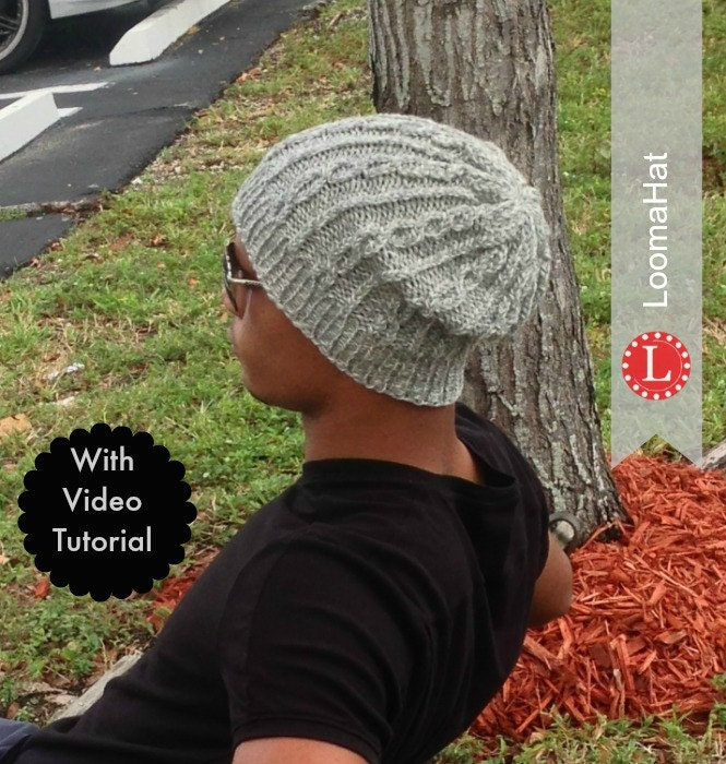 Loom Knitting PATTERNS | The Chain Links Hat Slouchy Beanie for Men ...