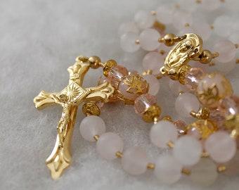 Rose Quartz Rosary; Catholic Prayer Beads; Handmade Rosary; Pink Rosary