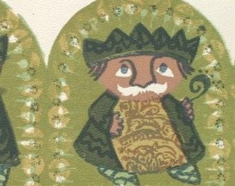 Dinky Despots   a Woodcut-Serigraph by Barbara Fernekes  Hughes