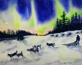 Alaskan Midnight Run, Original Watercolor Alaska dog sledding aurora borealis northern lights