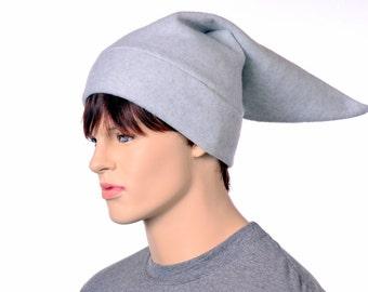 Gray Elf Hat Mens Pointed Beanie Dove Gray Dwarf Cap