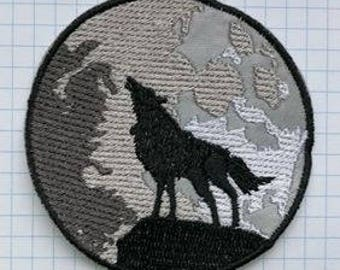 Wolf and Moon Embroidered Cloth Iron On Patches