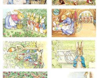 Vintage Beatrix Potter Fabric Blocks 100% cotton 8 Total Fabric Images Peter Rabbit Storybook