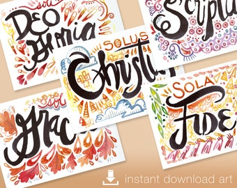 Five Solas - Digital Download Printable Watercolor Art of all 5 Solas of the Protestant Reformation Each 5x7