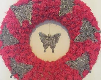 Foam rose hanging wall wreath