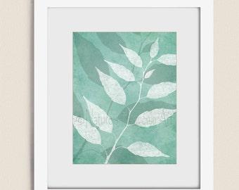 11 x 14 Tree Leaf Wall Art Print, Nature Art, Aqua Decor for Office or Home, Teal Living Room Wall Art (141)