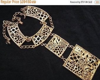 ON SALE Goldette Signed Necklace, 1950's 1960's Huge Statement Designer Jewelry, Old Hollywood Glam, Gift Idea For Her, Runway Necklace