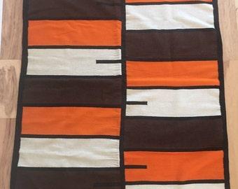 Vintage Modernist Wool Handwoven Rug or Wall Hanging // Nomadic weaving // Mid Century Design