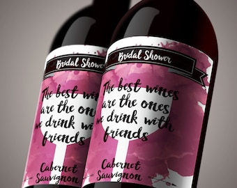 Wine Tasting Labels - Bridal Shower Wine Party. Wine Bottle Labels for Bridal Shower Wine Tasting. DIY Printing *INSTANT DOWNLOAD*