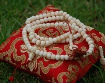 Tibetan Yak Bone 108 Bead Mala with Counters (White)