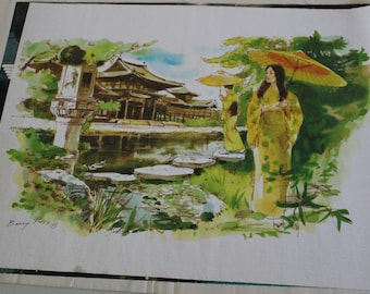 Oriental Water Garden Canvas Print by Barry Ross 1975 - Nestle Promotional Item