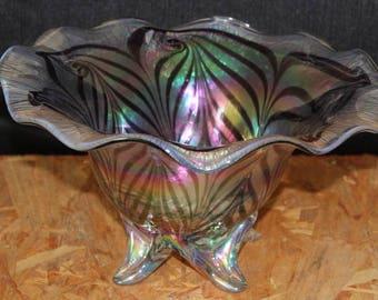 Vintage Blown Decorative Art Glass Centerpiece Bowl