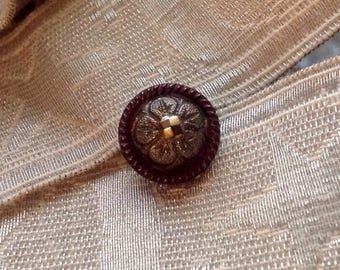 Antique Black Glass Button. Victorian. Small but Fabulous. Multilustered.