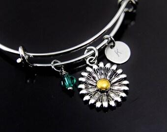 Gardening Gift Daisy Bangle Daisy Charm Bracelet Silver Daisy Charm Daisy Flower Jewelry Gardener Gift Personalized Bracelet Initial Charm