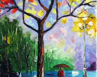 "ORIGINAL Oil Painting Modern Palette Knife Landscape  -  COLORFUL NIGHT  6""x 12""x 3/4"""