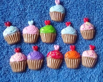 8,12 or 16pc. Cupcake Polymer Clay-Halloween,Small Flatback Cupcake,Charms,Candy,Jewelry,Earrings,Necklace,Free Gift-Free Shipping.