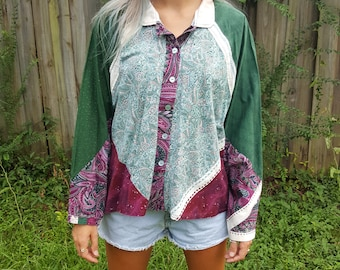 Vintage Flannel Shirt - Patchwork Button Down - Long Sleeve Collar - Handmade - Floral