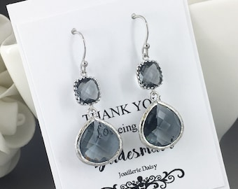Dangle Earrings Gray Earrings Charcoal Glass Drop Earrings Bridesmaid Gifts Gray Charcoal Wedding Gift Mother of Groom Mother of Bride