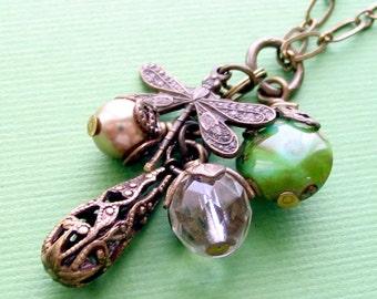 Dragonfly Necklace, Cluster Necklace, Charm Necklace, Vintage Style, Brass Filigree