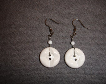 White Vintage Button Earrings