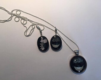 """Set of loop necklace """"Were all made Here - Alice in Wonderland"""""""
