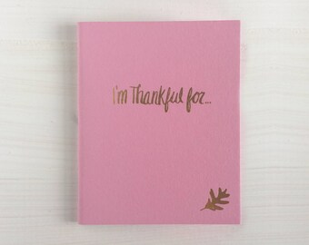 i'm thankful for pressed pocket journal with falling leaf