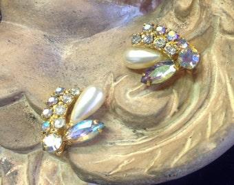 Vintage Rhinestone Costume Earrings