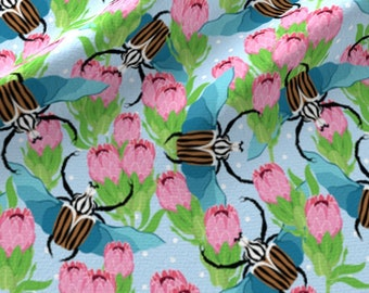 Beetles and Flowers Fabric - Goliath Beetle With Protea Flowers By Natelledrawsstuff - Beetle Cotton Fabric By The Yard With Spoonflower