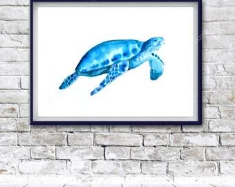Watercolor Art, Digital Print, turtle painting, Instant Download Printable Art, watercolor turtle painting, turtle, animal painting