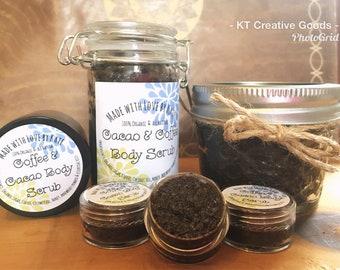 Cacao & Coffee Body Scrub/Natural Body Scrub/Coffee Sugar Scrub/Sugar Scrub/Exfoliator/Organic Scrub/Body Scrub/Chocolate Scrub/Coffee Scrub