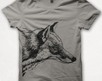 Kids Tshirt Fox Shirt T shirt Screenprinted - Gray