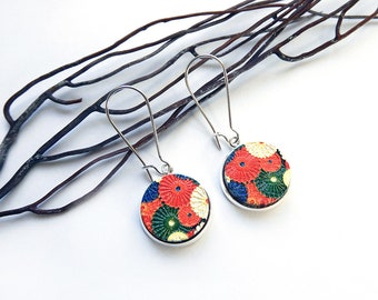 Japanese style earrings silver painted wood