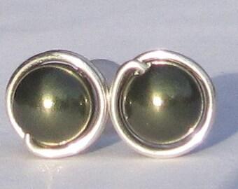 Dark Green Pearl Stud Earrings (7mm), Swarovski Pearl Stud Earrings, Wire Wrapped Sterling Silver Stud Earrings, Stud Earrings