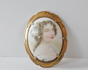 Antique Victorian Brooch, Porcelain Lady Hand Painted, 25M Gold Plated, Oval Pendant, Lapel Pin, Miniature Portrait of Lady, Birthday Gift