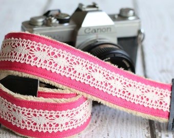 dSLR Camera Strap, Padded Camera Strap, Camera Strap for Canon or Nikon, dSLR Minky Camera Strap, dSLR Photography - Pink Linen and Lace