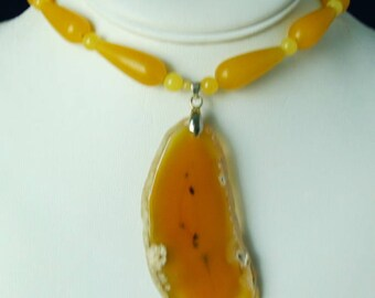 Yellow Jasper Agate Pendant Necklace