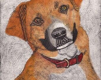 Jack Russell Terrier Mix, Original Fine Art Collograph, Dog Print, Dog Wall Art  - Lola 3