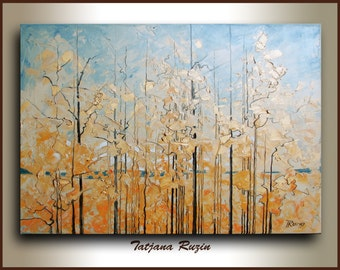 ORIGINAL Landscape painting on canvas,Autumn Forest,oil painting,palette knife,Modern Painting, textured wall art, abstract landscape art