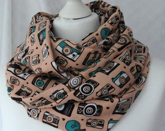 Camera print infinity scarf, Gift for photographer, Circle scarf, Camera scarf, Print scarf, Lightweight scarf, Fashion scarf