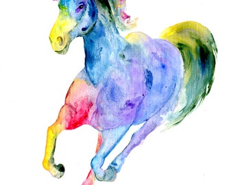 "8x10 Horse Art Print by Sherry Shipley ""RAINBOW HORSE"""