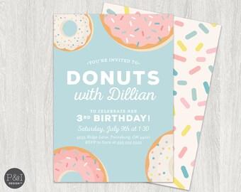 Donut Birthday Party Invitation | Any Age |  DIY | Customized Printable