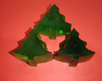 3 Small Christmas Tree Glycerin Soaps