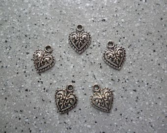 5 charms hearts 10 mm silver metal