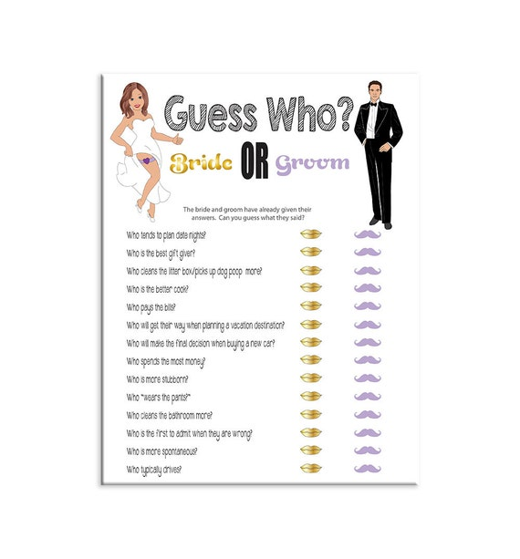 Guess Who Bridal Shower Game Sexy Bride Groom Purple